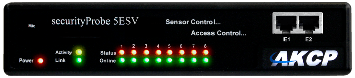 securityProbe5ESV - an intelligent sensor monitoring device for data centers and remote site locations