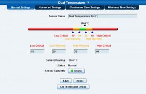 Server Rack Temperature and Humidity Threshold Settings