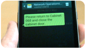 Text Message sent to Engineer from Central Server Software