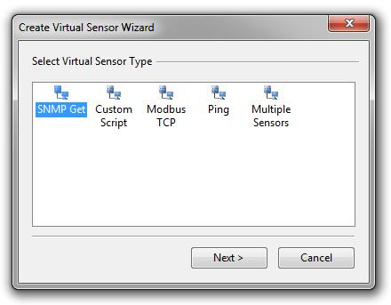 Create a SNMP and Modbus Virtual Sensor