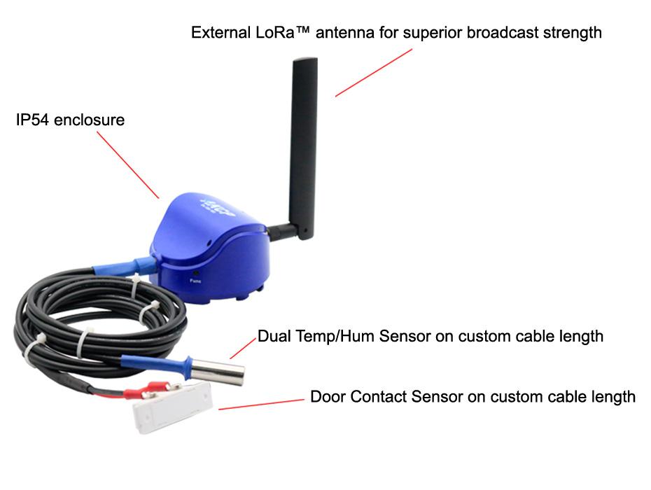 IP54 enclosure, External LoRa™  antenna for superior broadcast stremgth, Dual Temp/Hum Sensor on custom cable length, Door Contact Sensor on custom cable lenght