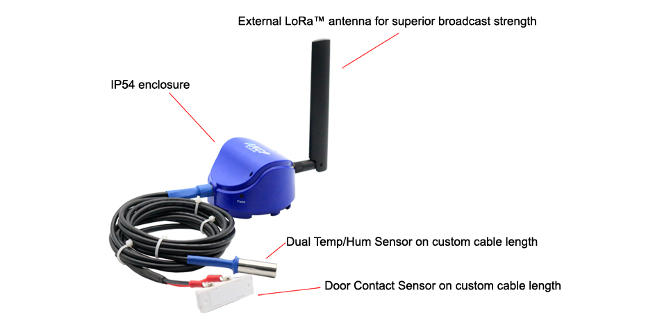 Dual Temp/Hum Sensor on custom cable length, Door Contact Sensor on