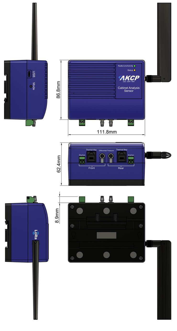 Wireless Cabinet Analysis Sensor Technical Drawing