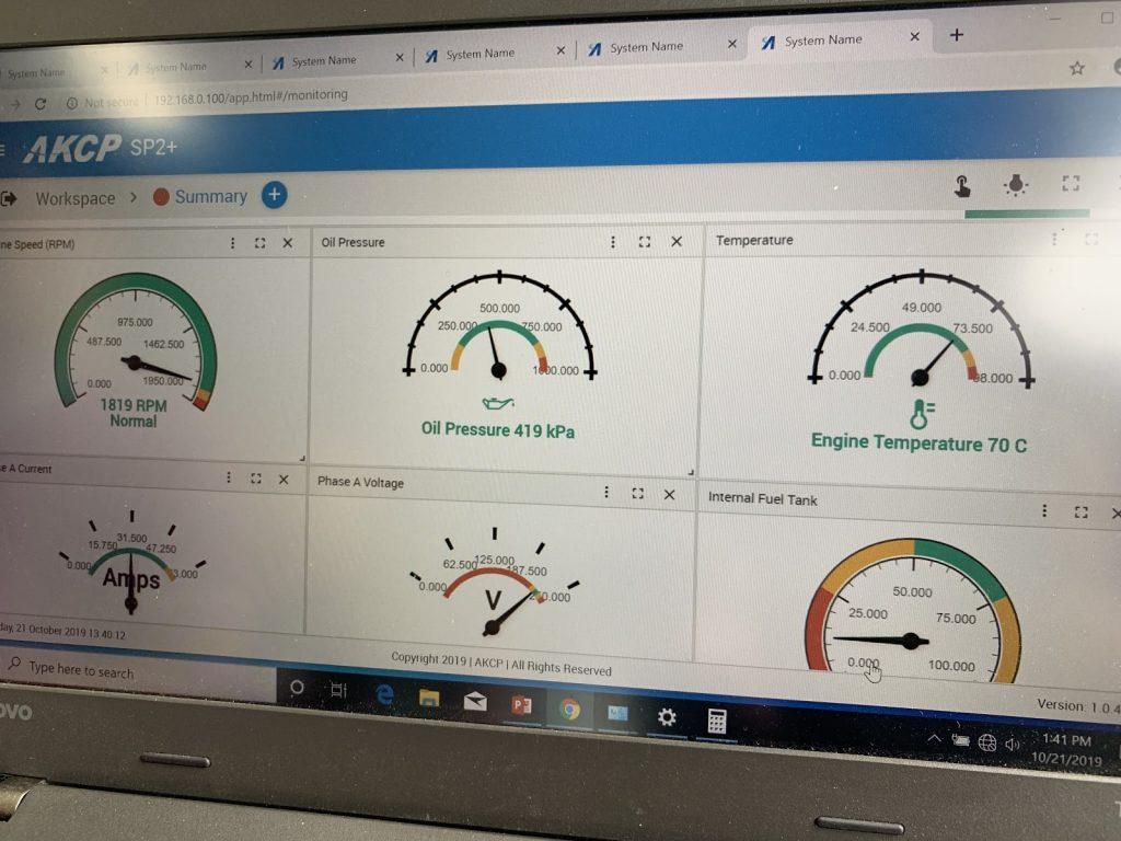 Dashboard displaying sensor values when generator is running.